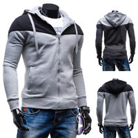 New Mens Patchwork Casual Autumn Hoodie Sports Coats Tops Sweatshirt Outwear