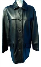 02441 Danier Women Coat Jacket Genuine Real Leather Black Size Small Bust 42 XL