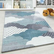 Wolken Kinderteppich Kurzflor Soft Kinderzimmer Babyzimmer Mehrfarbig Grau Blau