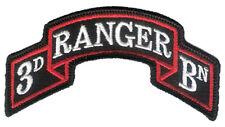 "New Hook & Loop - Modern US 3rd Ranger Battalion Scroll - 3 7/8"" x 2"" Merrowed"