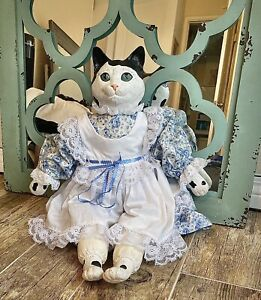 Vintage Cat Doll Figure In A Dress Porcelain Ceramic Collectable No Chips 24inch