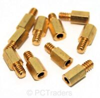 10x 6.5mm Brass Standoff 6-32 - M3 PC Case Motherboard Risers