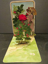 ancienne carte decoupi roses elegante a systeme depliant
