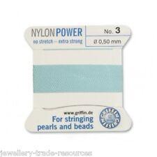 Azul turquesa Nylon Potencia sedoso Hilo 0,5 mm Encordar Perlas Griffin 3