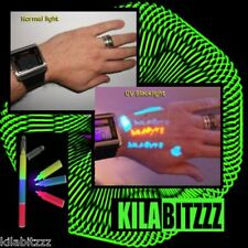 Blacklight uv Visible, Invisible ink temporary tattoo body pen 3 colours in 1