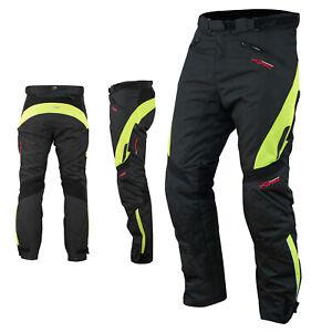 Waterproof Motorcycle Motorbike Textile Thermal Cordura Trousers Fluo Size 30