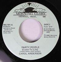 Hear! Modern Soul Funk Detroit Nm! 45 Carol Anderson - Party People (C