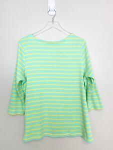 L.L. Bean Women's Green Yellow Stripe 100% Cotton 3/4 Sleeve Pullover Sweater 1X