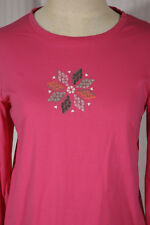 HUE Women's Size M Medium Pink Snowflake Long-Sleeve T-Shirt Top