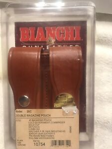 Bianchi Double Magazine Pouch .45ACP, S&W 39.  Tan Leather, NEW IN BOX