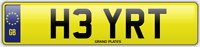 RT INITIALS NUMBER PLATE HEY HI CHERISHED CAR REG H3 YRT NO ADDED FEES TO PAY