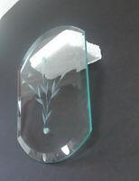 Chandelier Glass Light Panel Beveled Pane Wheat Leaf Pattern Vintage Clear Retro
