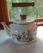 Vintage Early Spring GAILSTYN-SUTTON 1983 Enamel Tea Kettle Pot Flowers Rare