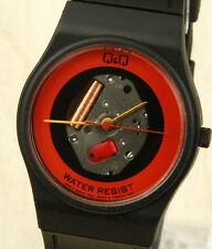 Q&Q (Citizen) Vintage Red Skeleton Watch 32mm Made in Japan New Old Stock