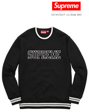 SUPREME SS17 Felt Shadow Crewneck L/S Top Sweater Black M Medium Authentic New