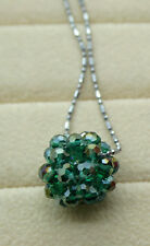 Green Bead Ball Crystal Pendant Charm Jewel Silver Metal FREE Necklace Chain