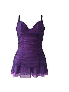 Victoria's Secret Ruched Ruffle Mesh Purple Sexy Little Things Dress Slip M