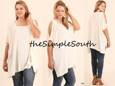 New UMGEE Cream Crochet Fringe Lace Open Shoulder Strappy Neck Tunic Top 1XL