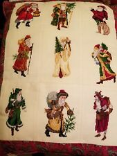 Beautiful Vintage  Needle Point Christmas Santa Pillow Custome Made Very Unique
