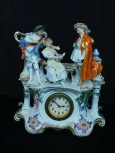 Antique Germany Porcelain 18th Century Figural Mantel Clock
