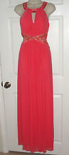 CACHE FORMAL DRESS SIZE 4 MAXI CORAL FULL LENGTH GOWN JEWELED WEDDING GUEST