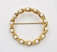 Vintage Marvella Faux Pearl Twisted Rope Large Circle Gold Plated Brooch Pin