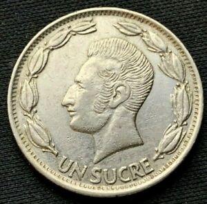1970 Ecuador Un Sucre Coin XF     Nickel clad steel      #K927