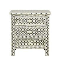 Bone Inlay Bedside Table Home Decor Purpose Attractive Design Crafted Inlay End