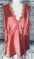 Fashion Bug Women's Plus Size 22W Tank Top Pink Silky Lace V Neck Collar Trim