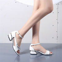 Fashion Women Open Toe Chunky Heels Ankle Strap Rhinestone Party Sandals Shoes