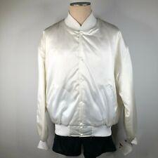 Vintage Hartwell Hombres L 42-44 Raso Blanco Chaqueta Universitaria Chasquear
