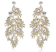 HUGE FEATHER AUSTRIAN CRYSTAL RHINESTONE CHANDELIER DANGLE EARRINGS GOLD E2000G