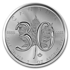 2018 30th Anniversary Canadian Silver Maple Leaf 1 oz .9999 Silver BU Coin
