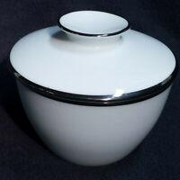 VTG Sugar Bowl Noritake SILVERDALE 5594 Japan White Platinum Trim Mid Century