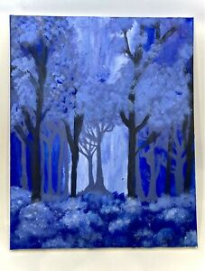 """""""The Mystic Forest"""" - A Blue Forest Wall Art Canvas Painting"""