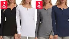 Womens Felina Long Sleeve Rib-Knit Henley Tee Shirts Cotton Modal 2Pack Various
