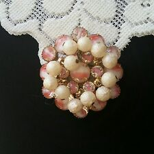 Gorgeous JULIANA D&E pink givre glass dangle brooch.