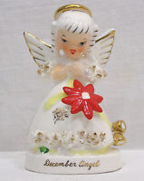 "Vintage Christmas December Angel Flower on Dress Looking Down 4 1/2"" Napco Japan"