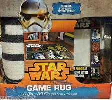 DISNEY STAR WARS CHEWBACCA C-3PO R2-D2 AREA FLOOR RUG CARPET~NEW~W/ PIC. FRAME