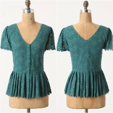 Anthropologie Green/Teal Eyelet Lace Peplum Blouse by Two of Us, Sz. 8