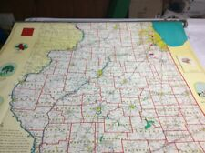 Vintage Rare Illinois Pull Down Map By Hearne Brothers 12285A