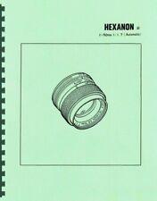 Konica Hexanon AR 50mm F1.7 Lens Service & Repair Manual Reprint