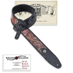 Walker & Williams GN-25 Black & Chestnut Tooled PaddedStrap Glove Leather Back