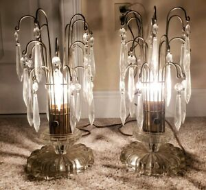 Antique Matching Pair of Glass Crystal Prism Boudoir Hurricane Table Lamps