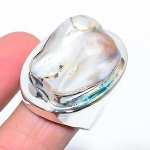 Biwa Pearl Gemstone Handmade Ethnic Jewelry Ring Size 10 LL
