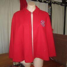 Vintage Cape 1950s Red Wool & Lining Nurse Nursing Uniform Coat Size 22 Rare