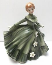 """Vintage Lefton Lady Southern Belle Dancing Planter 1337A 6"""" Tall Green Gown"""