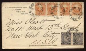 PERU, PASCO TO NEW YORK 1885 COVER