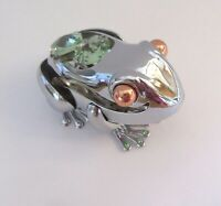 Figurine BULLFROG Austrian Crystals- silver color-green crystals-green toes