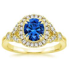 Blue Sapphire Natural 14K Yellow Gold 1.30 Ct Diamond Wedding Ring Size H M L I